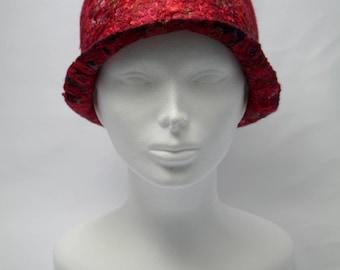 Red Wool and Silk Cloche Hat, Felted Hat, Nuno Felt Hat, Felt Wool Hat, Women's Winter Hats, NunoFelted, Silk  Detail, Fashion Hat