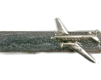 Antique Silver Airplane Tie Clip  Inlaid in Hand Painted Silver Enamel Aircraft Tie Bar Accent Vintage Style Aviator Custom Colors Available