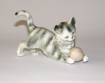 Vintage German Porcelain Piano Kitty with Ball