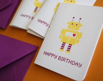 Robot Birthday cards in yellow, set of 6