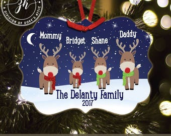 Christmas reindeer family four personalized metal or wood ornament (you choose) - family keepsake ornament  MBO-006