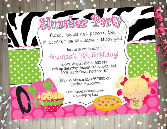 Slumber Party Invitation invite Sleepover Birthday Party
