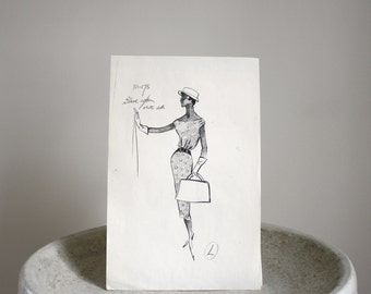 Vintage Fashion Sketch c. 1960s Mid Century Fashion Stat 8 1/2 x 13 inches
