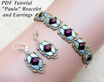 "Beaded Bracelet and Earring Pattern, Beading Tutorial, DIY Bead Pattern, Jewelry Pattern, Beadweaving Pattern, ""Paula"" Bracelet and Earrings"