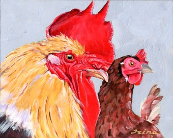 Rooster and Chicken Original Painting 8 x 10