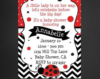 Ladybug Baby Shower Invitation, Ladybug Red and Black Invitation, Printable Invite
