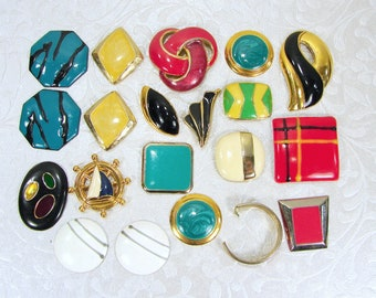 Earring Craft Lot Vintage Enamel Earrings Singles Pairs BACKS REMOVED Costume Jewelry Yellow Red Blue Green Aqua Hair Mosaic Frame Crafts