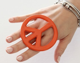 Peace Symbol Sign, Statement Ring, Ceramic Ring -  big ring, peace sign ring, handmade ring, cocktail ring