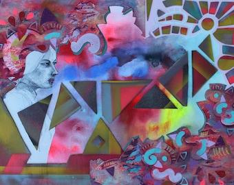 Seeker, Mixed Media Original, painting, collage, art, contemporary, modern