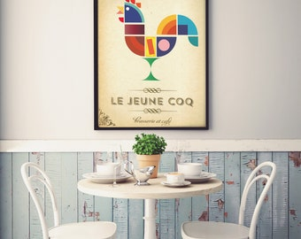 The Cockerel - French Cafe Sign Style Vintage Art Print Poster - ideal for restaurants, cafes or kitchens