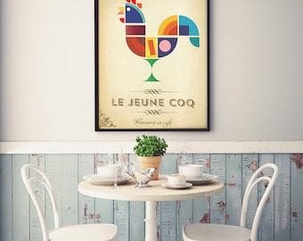 L'idéal du coq - Français Cafe signe Style Vintage Art Print Poster - pour les restaurants, les cafés ou les cuisines