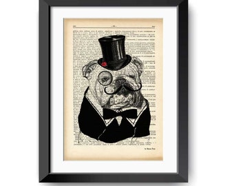 English bulldog dictionary print-English Bulldog print-fynny bulldog print-bulldog on book page-dog print-Christmas gift-NATURA PICTA-DP141