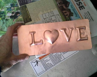 Hammered Copper Love Plaque Copper 7th Anniversary Gift