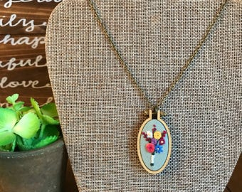 Flower bouquet hand-embroidered wooden hoop necklace