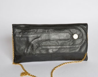 Vintage Black Leather 1980's Shoulder Bag Purse  with Gold Chain Strap
