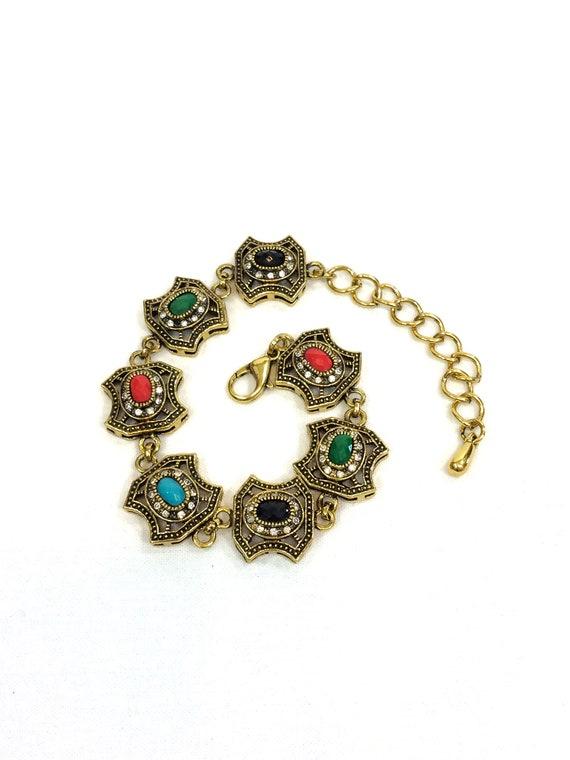 Gold Black Gemstone Bracelet, Faux Turquoise Black Green Onyx, Clear Rhinestones, Renaissance Style,  Lobster Claw, Vintage Fashion Jewelry