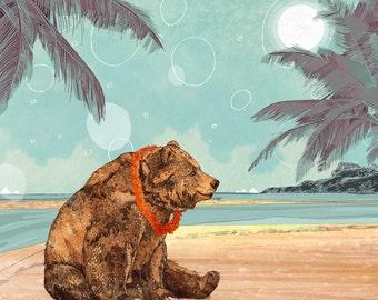 Beach Bear  // Signed A4 print