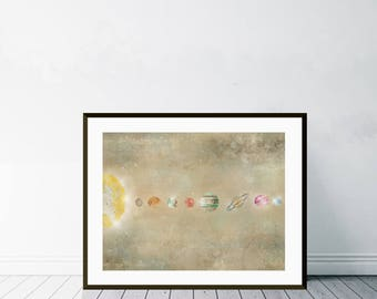 the solar system.solar system watercolor.solar system print.solar system poster.solar system art.space posters.nursery solar system print.
