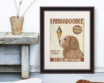 Office canvas - Labradoodle golden Ice Cream Dog - Home office art office decor ideas cute office decor office gifts gift for women wall art