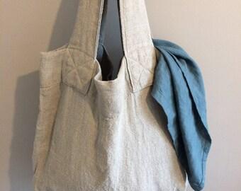 Linen Tote Bag, Reusable Shopper Bag, Flax color Tote Bag, Linen Tote, Shopping Bag, Eco Tote Bag, Rustic Linen Tote Bag, Linen Fashion Bag