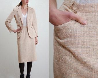 Vintage Suit / Modern Suit / Tailored Suit / Tweed Jacket / Pencil Skirt / Womens Suit / 2 Piece Suit / 60s Suit / Power Suit / Small Medium