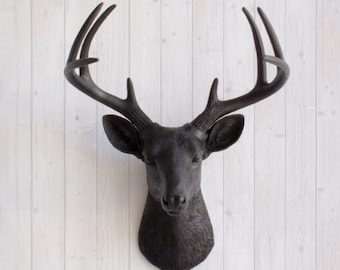 Large Faux Deer Head (Black) | Wall Charmers Faux Taxidermy | Gothic Home  Decor
