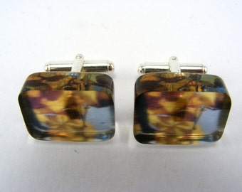Cufflinks Fall Leaves Pattern, Sterling Silver and Perspex, Autumn Leaves Photo, Handmade