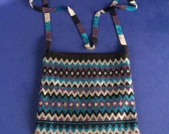 Shabby Chic Beaded Shoulder Strap Handbag Funky Purse Zig Zag Excellent Condition