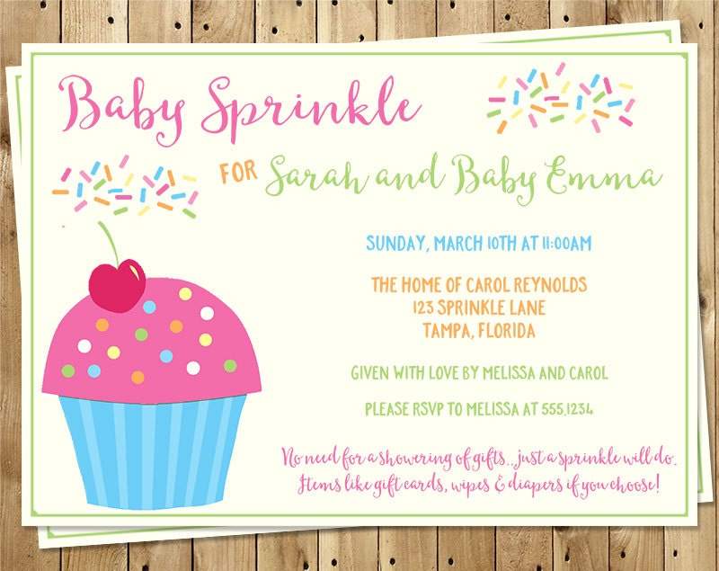 Baby Sprinkle Invitations Girl Dessert Cupcake Sweet