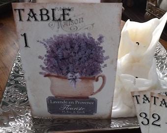 Lavender table numbers, Purple Wedding, Victorian table number cards, Garden Wedding, Beach wedding, Lavender basket