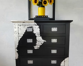 Tall 6 Drawer Ebony Black and Gilt Silver Leaf Chest of Drawers