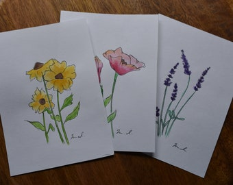 Set of Three Wildflower Ink and Watercolor Blank Folded Cards with Envelopes