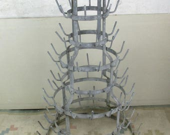 Large French Antique Champagne Wine Bottle Drying Rack 8 tier Rustic HTF