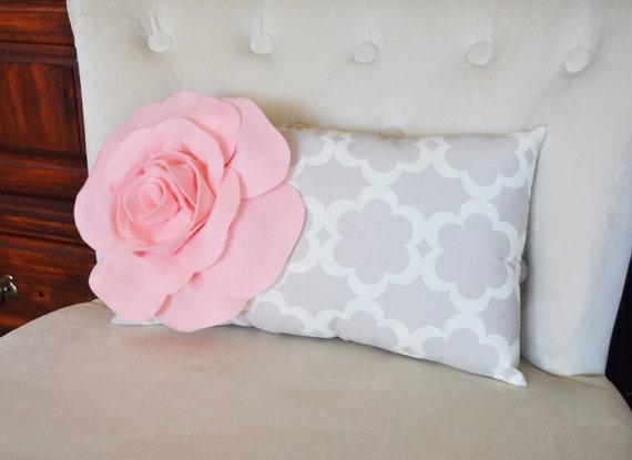 Lumbar Pillow Light Pink Rose On Neutral Taupe Gray Tarika