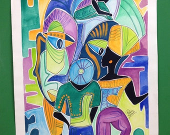 """Jamaica art abstract watercolor 14""""x18"""""""