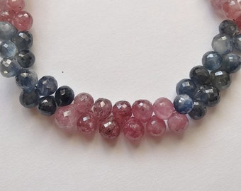 Intense Pink & Blue Umba Sapphire Faceted Fat Teardrops Half Strand A3365