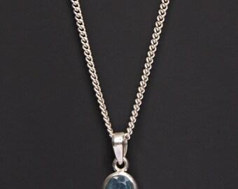 Aquamarine necklace for men - raw aquamarine - untreated aquamarine pendant - sterling silver chain necklace for men - gemstone jewelry