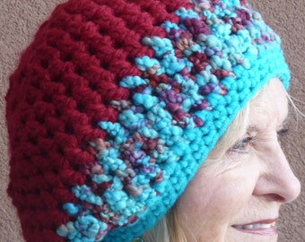 Slouchy beanie hat in women's winter accessories, a hat to remember in aqua and burgundy, original crochet and very unique, slouchy hat