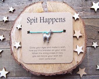 Alpaca Llama Wish Bracelet, Wish Bracelet, Friendship Bracelet, Llama Jewelry, Cord Bracelet, Alpaca Charm Bracelet, Alpaca Gift, Llama Gift