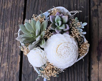 Small Floral Arrangement, Mother's Day, Wedding Reception Centerpiece, Succulent, Sola Wood Flowers, Faux Flowers, Home Decor, Wedding Decor