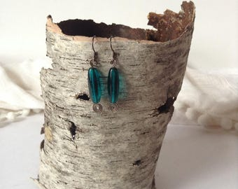 Pretty Turquoise Drop 925 Sterling Silver Fish Hook Pierced Earrings