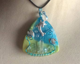 Wire Wrapped Agate Seascape Ocean Theme Pendant Necklace Jewelry