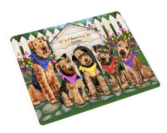 Spring Dog House Airedale Terriers Dog Print Throw Blanket