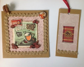 Vintage, all occasions, made, 3D, coffee, with its tag, Vintage card