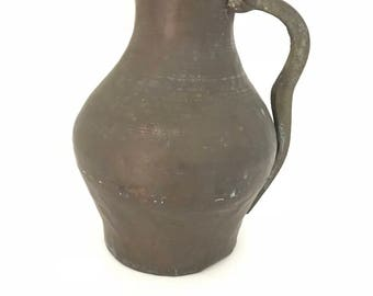 Antique Primitive Water Pitcher, Brass , Water Jug