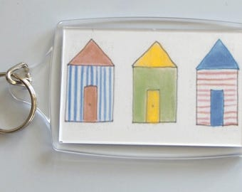 Keyring - print of Beach Huts drawing inside acrylic