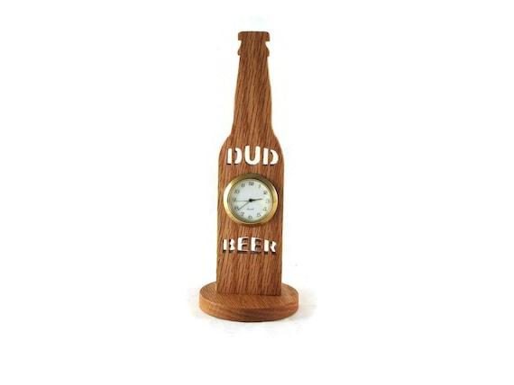 Wooden Dud Beer Bottle Desk Clock Handmade From Oak By KevsKrafts