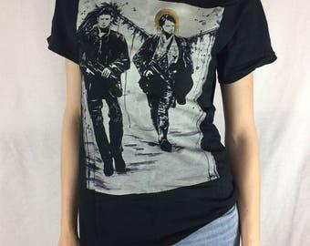 Christmas special! Endverse Supernatural Destiel Long Sleeve Shirt Castiel and Dean Winchester Painting Gildan T-Shirt