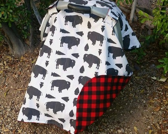 Baby Car Seat Canopy - Baby Car Seat Cover Boy - Buffalo Car Seat Canopy - Red Black Buffalo Plaid Infant Seat Cover - Baby Shower Gift