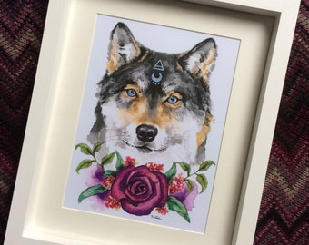 Mystical grey Wolf with purple roses print.
